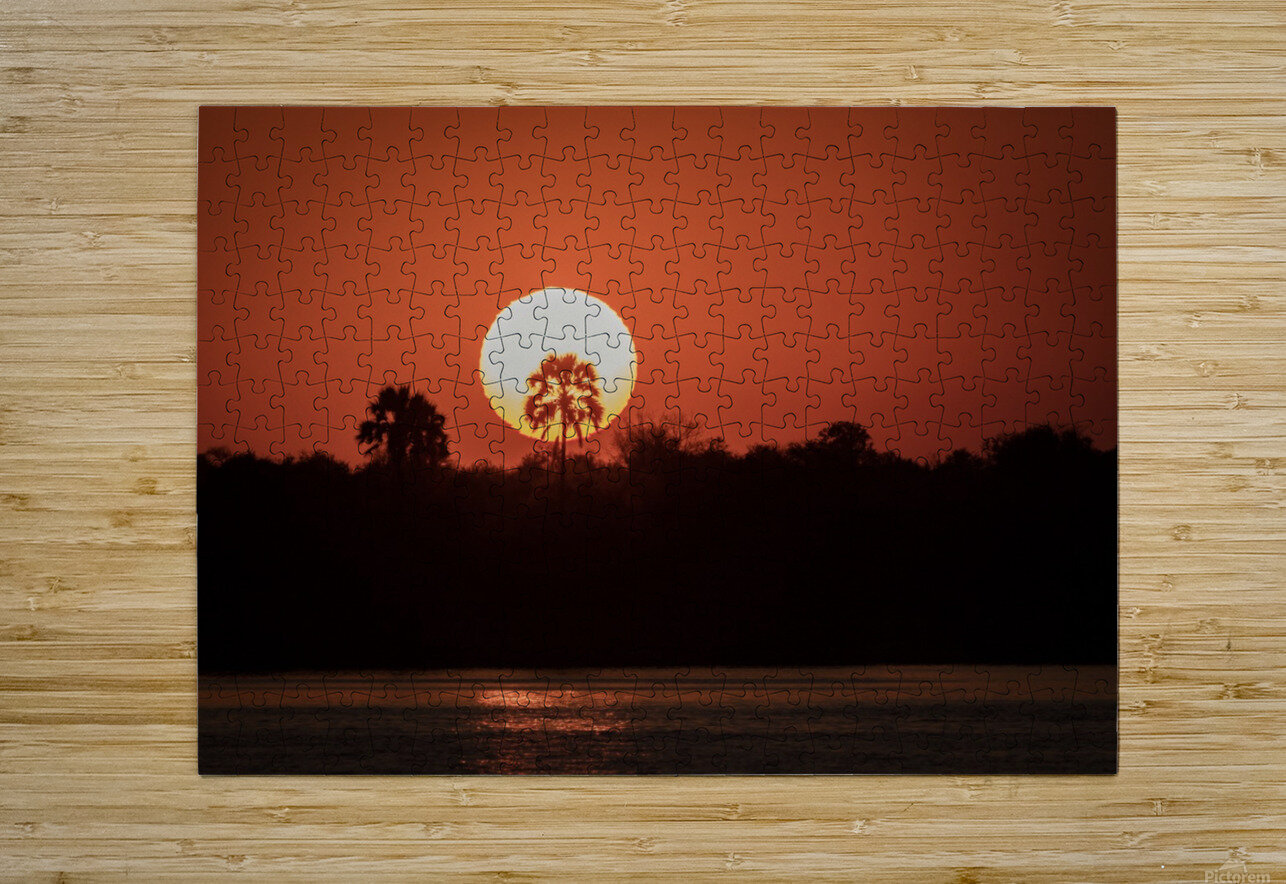 Sunset of Zimbabwe  HD Metal print with Floating Frame on Back