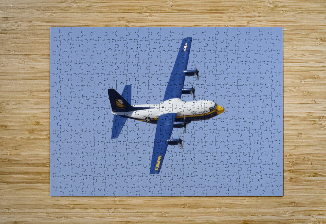 A C-130 Hercules of the Blue Angels flight demonstration squadron.  HD Metal print with Floating Frame on Back