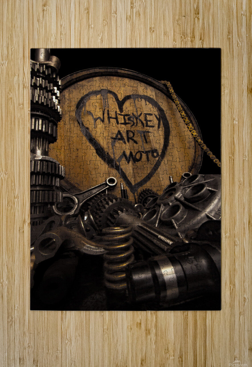 Whiskey Art Moto  HD Metal print with Floating Frame on Back