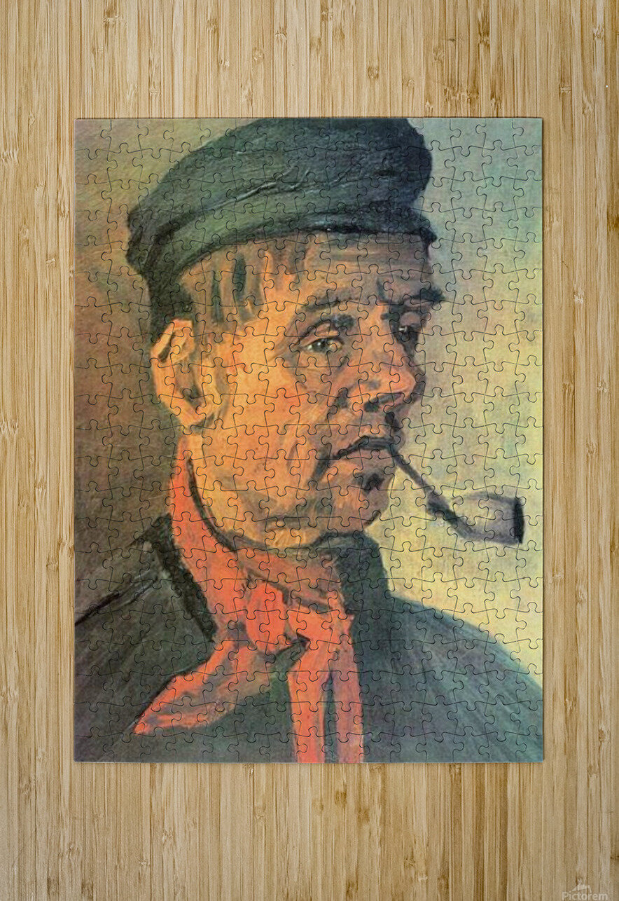 Head of a farmer with a clay pipe by Van Gogh  HD Metal print with Floating Frame on Back