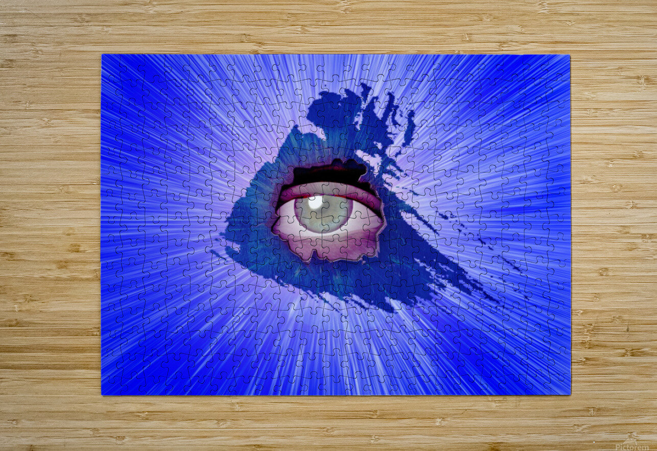 Eye behind wall crack  HD Metal print with Floating Frame on Back