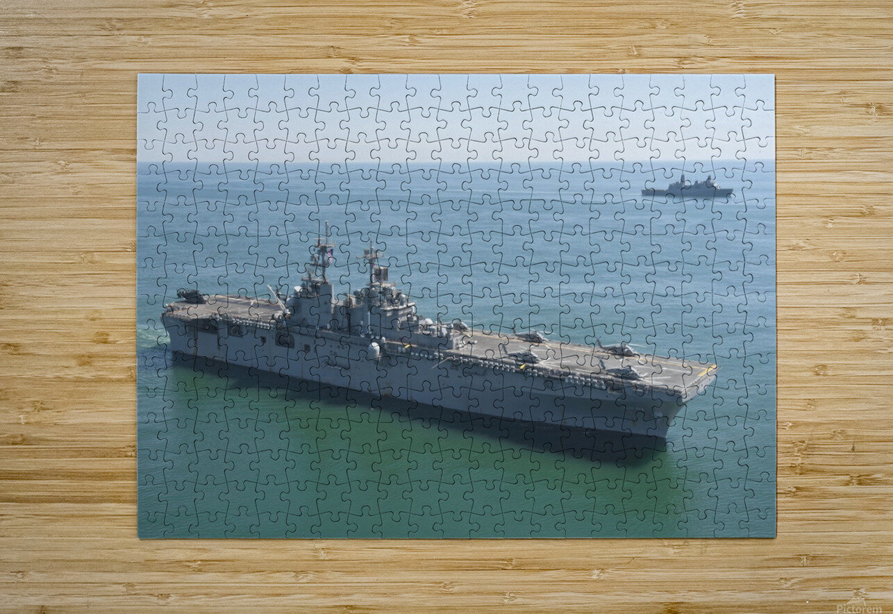 USS Wasp and USS San Antonio transit in formation in the Atlantic Ocean.  HD Metal print with Floating Frame on Back