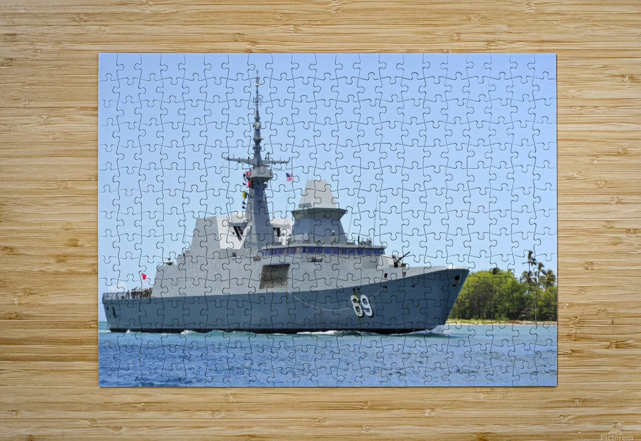 The Singapore frigate RSS Intrepid.  HD Metal print with Floating Frame on Back