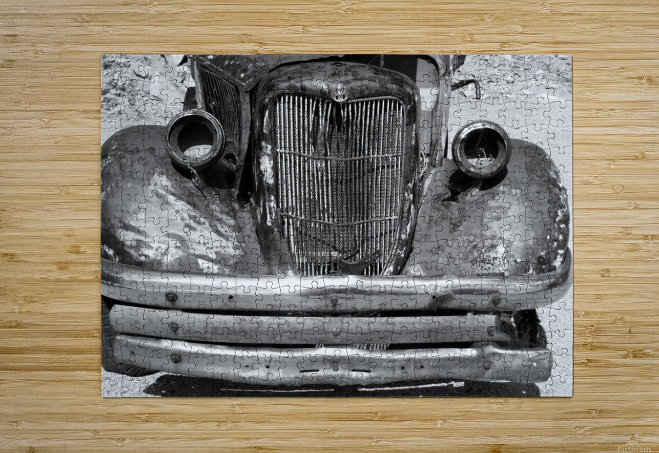 Rusty Old Truck B&W  HD Metal print with Floating Frame on Back
