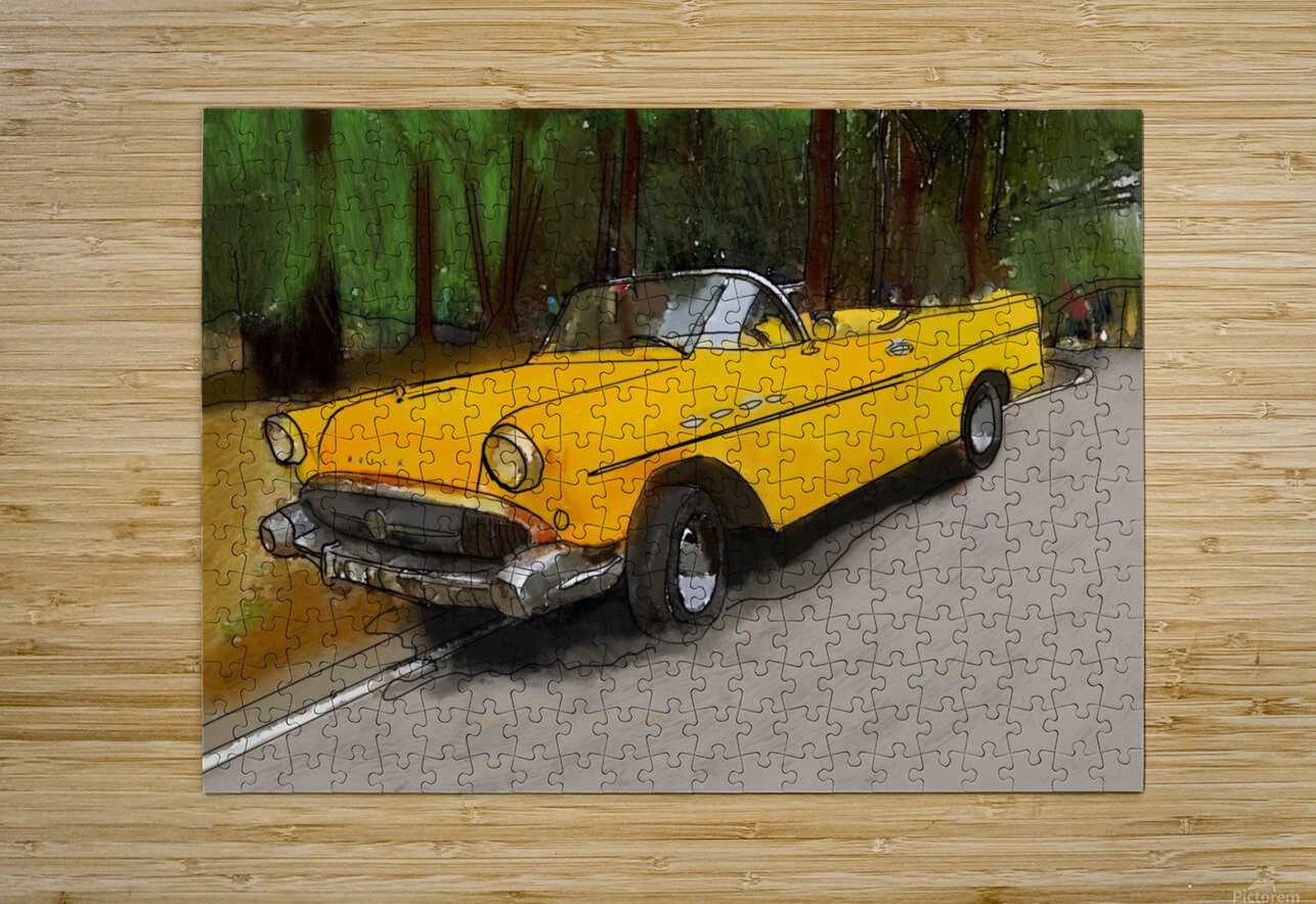 Cuba Yellow Car  HD Metal print with Floating Frame on Back