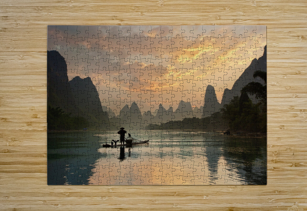 Golden Li River  HD Metal print with Floating Frame on Back