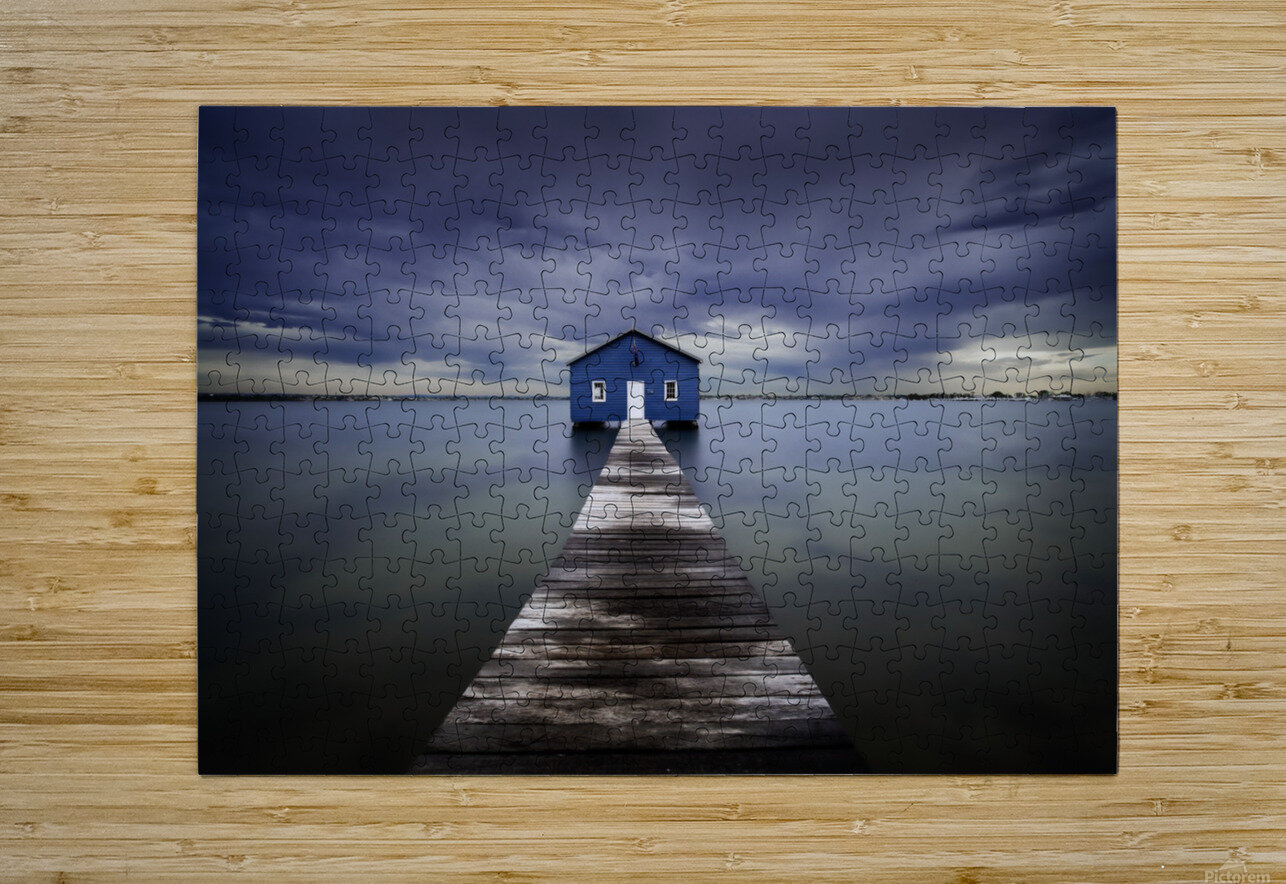 The Blue Boatshed  HD Metal print with Floating Frame on Back