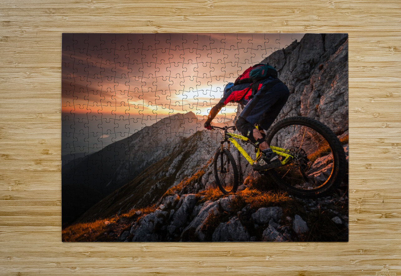 Golden hour high alpine ride  HD Metal print with Floating Frame on Back