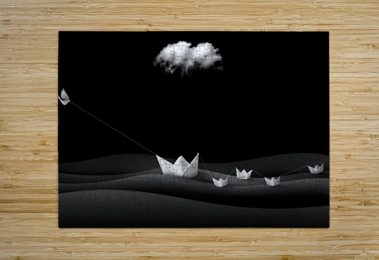 Paper Boats  HD Metal print with Floating Frame on Back