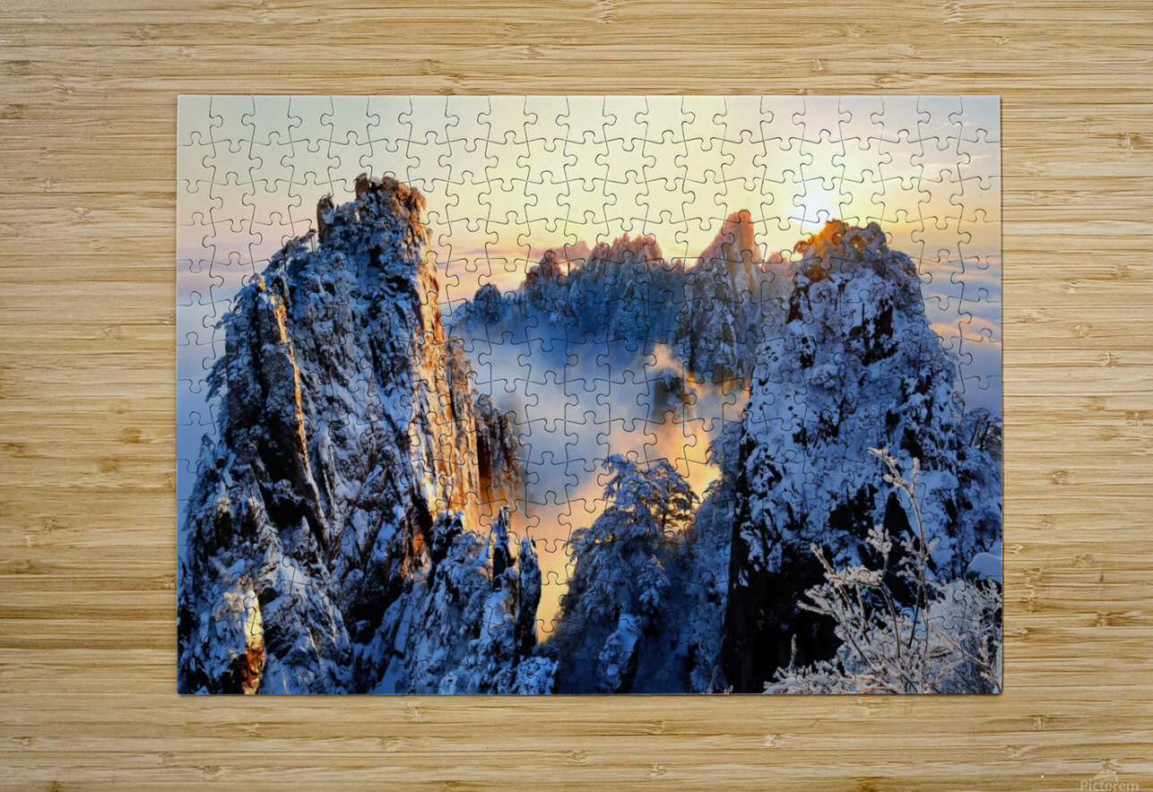 Sunrise at Mt. Huang Shan  HD Metal print with Floating Frame on Back