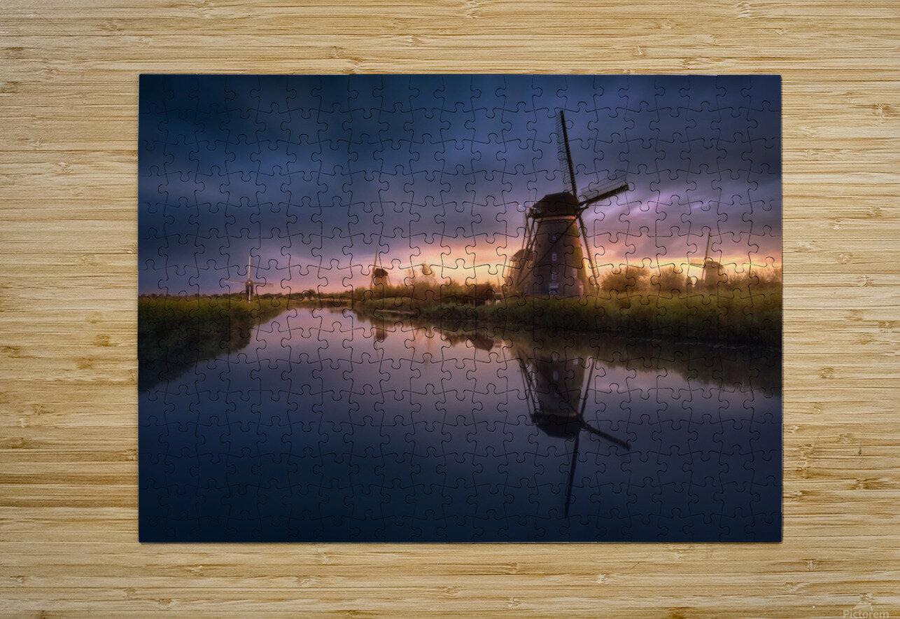 Kinderdijk Windmills  HD Metal print with Floating Frame on Back