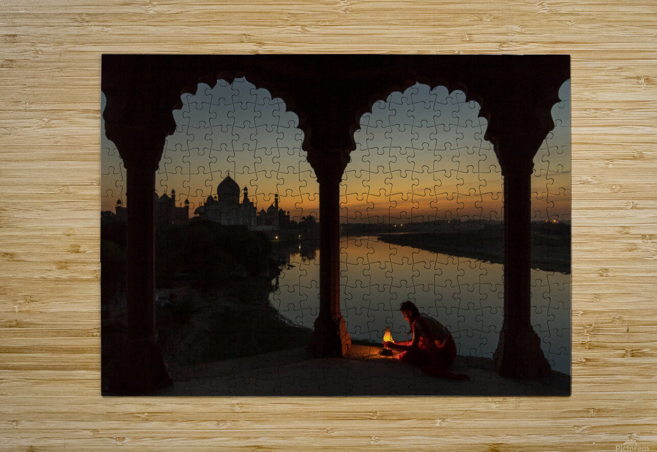 Illuminating the Taj  HD Metal print with Floating Frame on Back