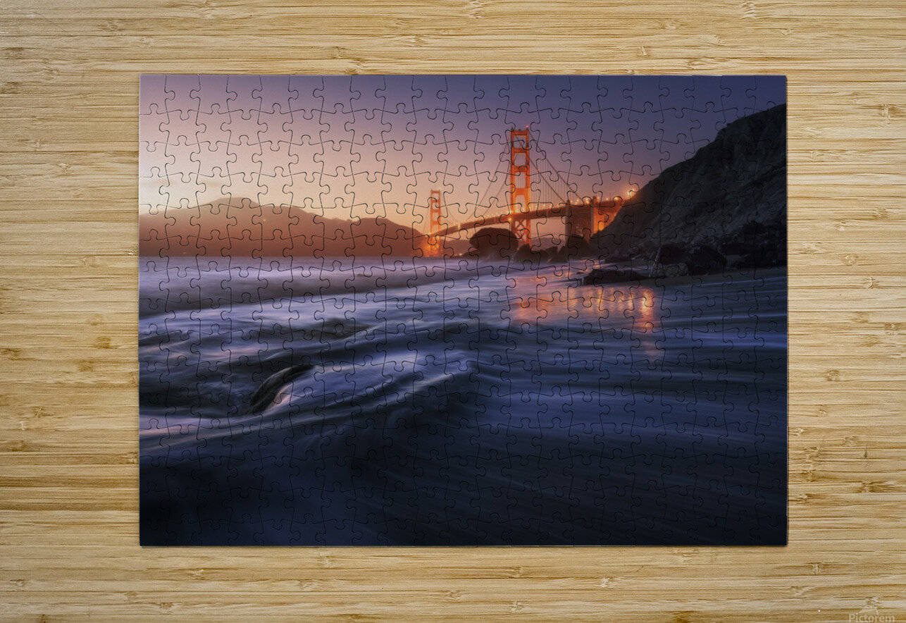 Golden beach  HD Metal print with Floating Frame on Back