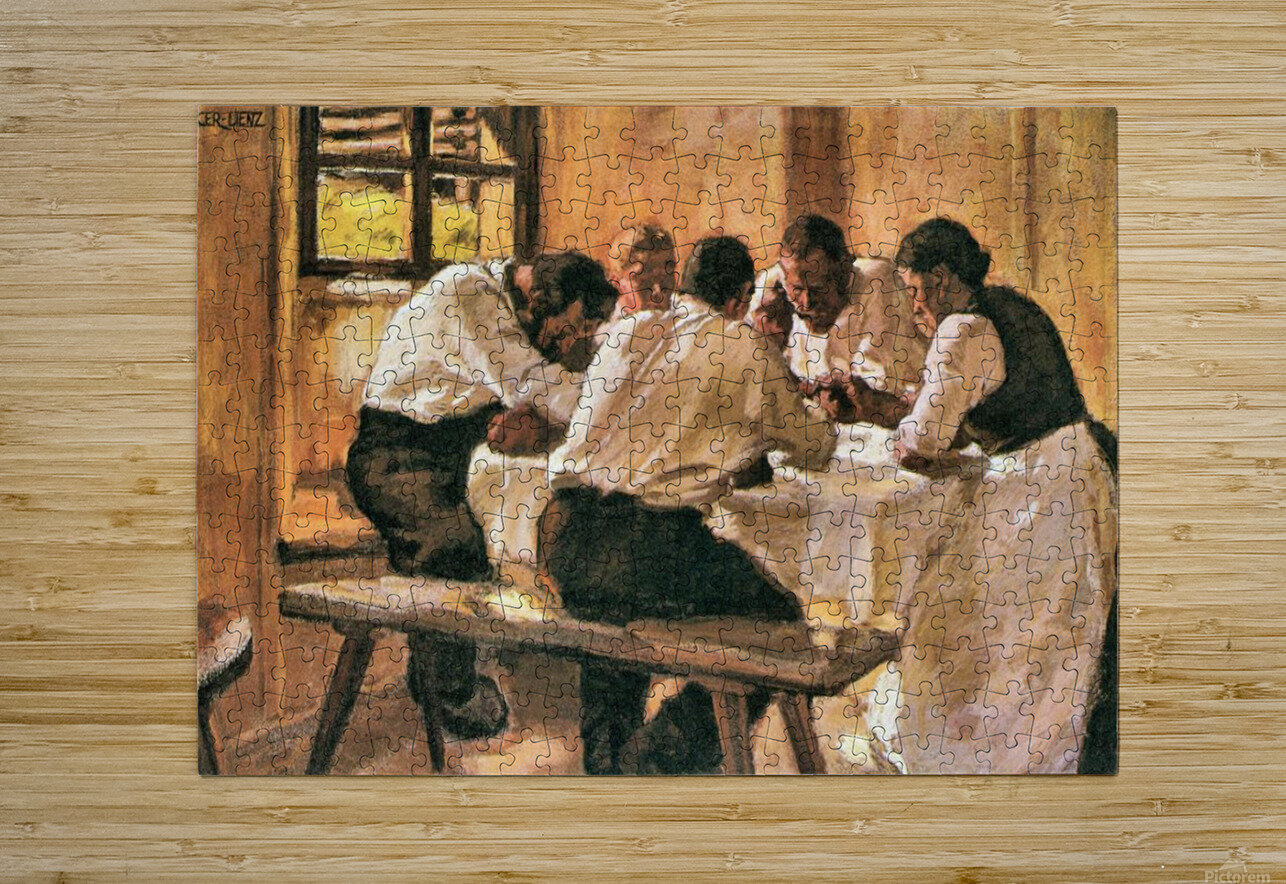 Lunch by Albin Egger-Lienz  HD Metal print with Floating Frame on Back