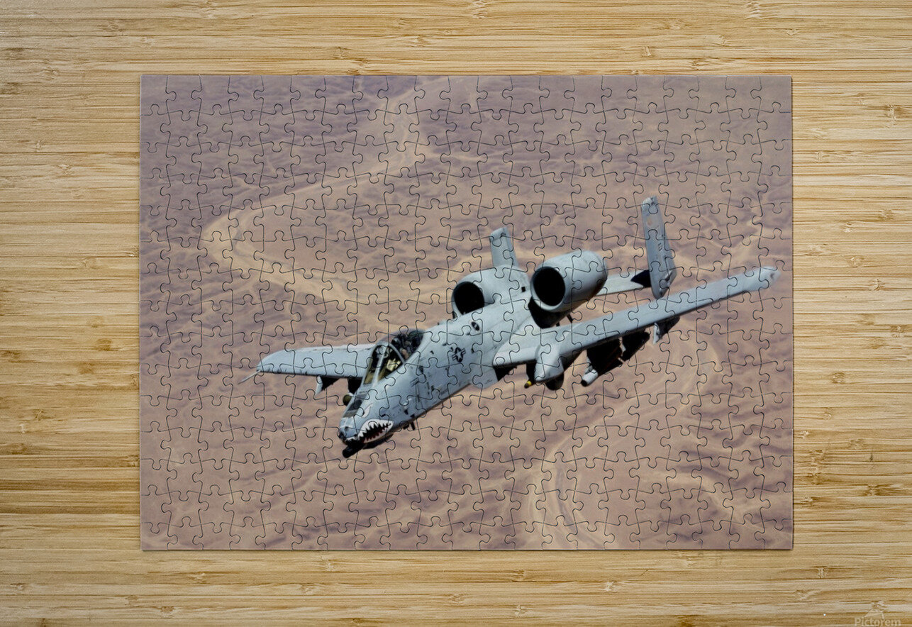 An A-10 Thunderbolt soars above the skies of Iraq.  HD Metal print with Floating Frame on Back
