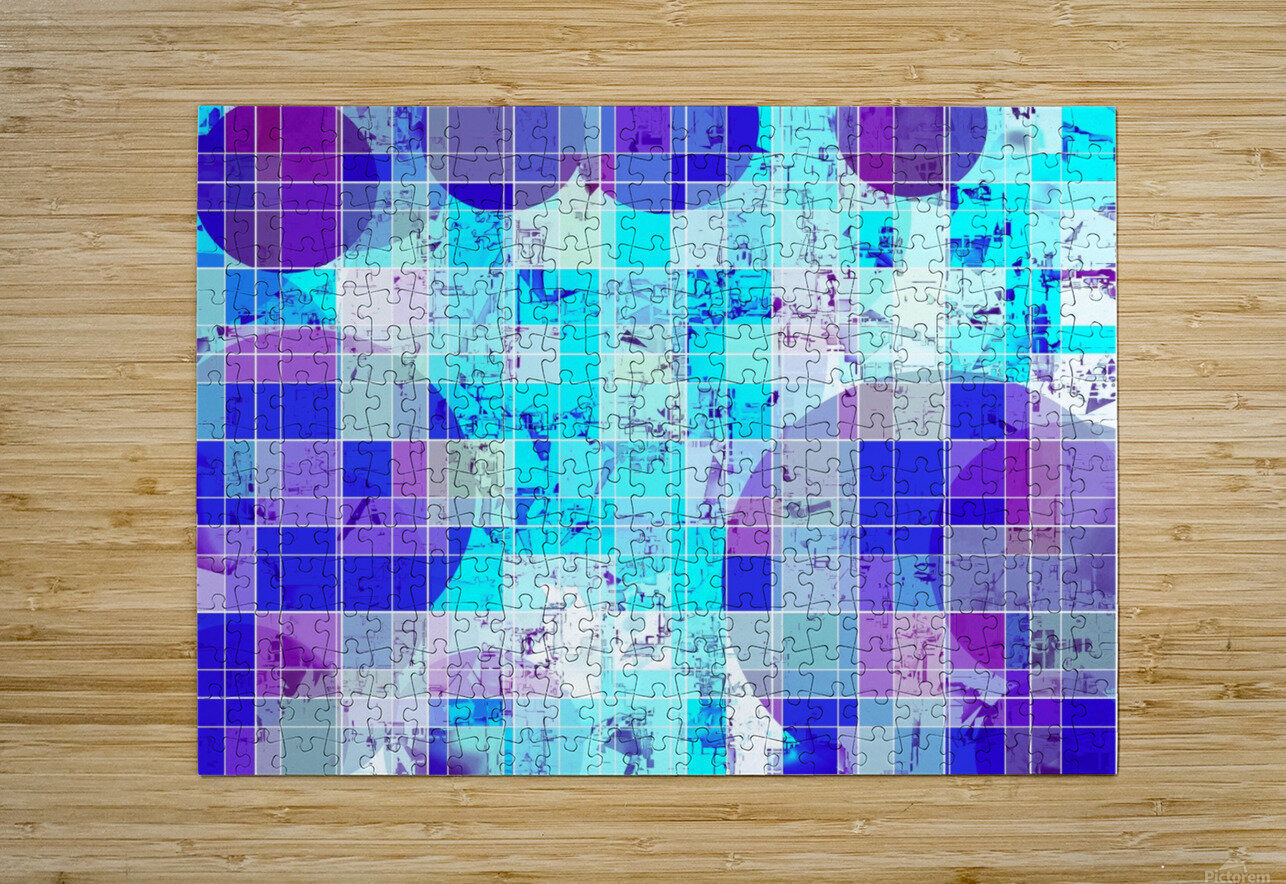 geometric square and circle pattern abstract in blue  HD Metal print with Floating Frame on Back