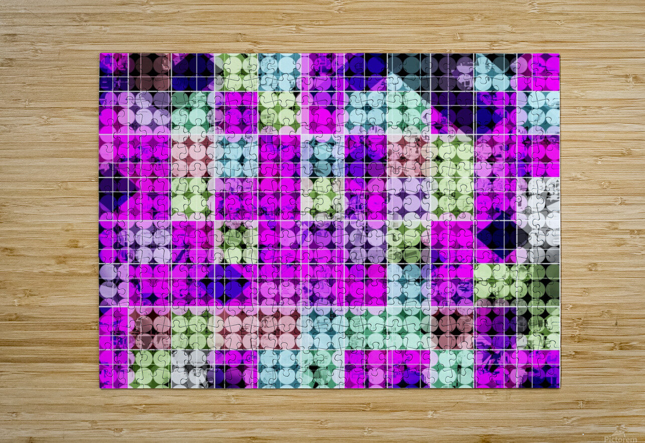geometric square and circle pattern abstract in pink blue  HD Metal print with Floating Frame on Back