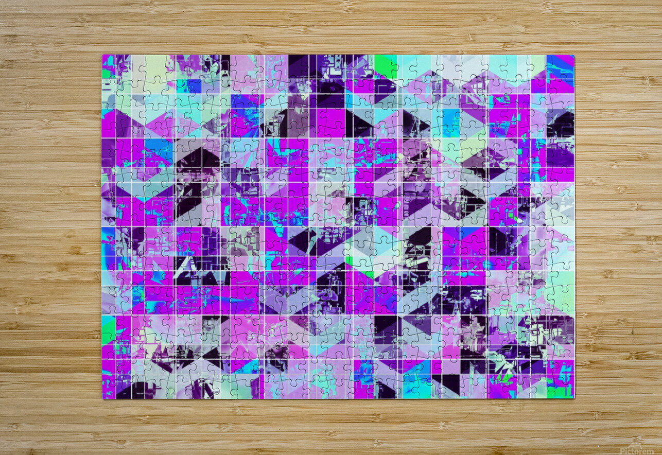 geometric square pattern abstract in purple blue  HD Metal print with Floating Frame on Back