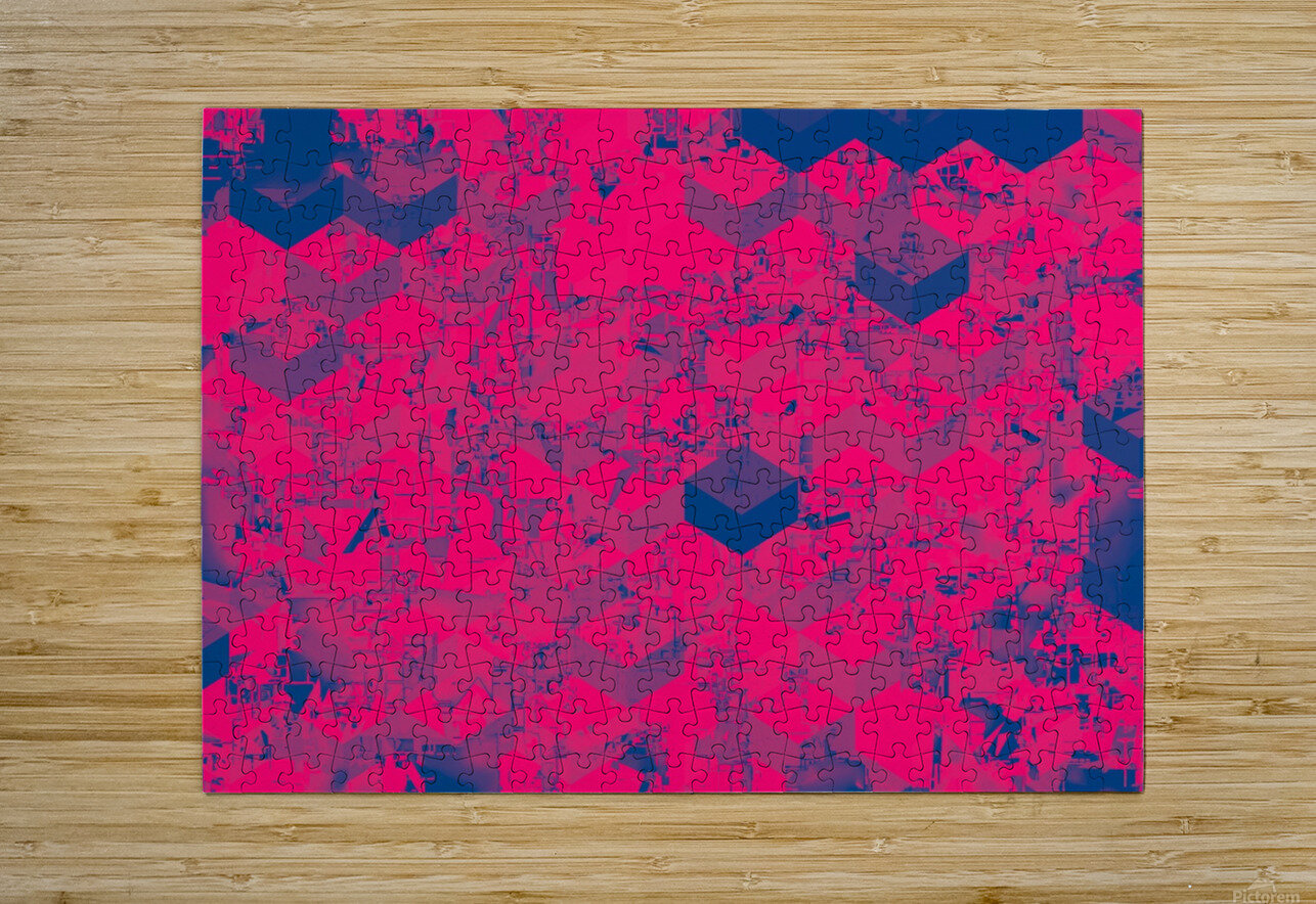 geometric square pattern abstract in pink blue  HD Metal print with Floating Frame on Back