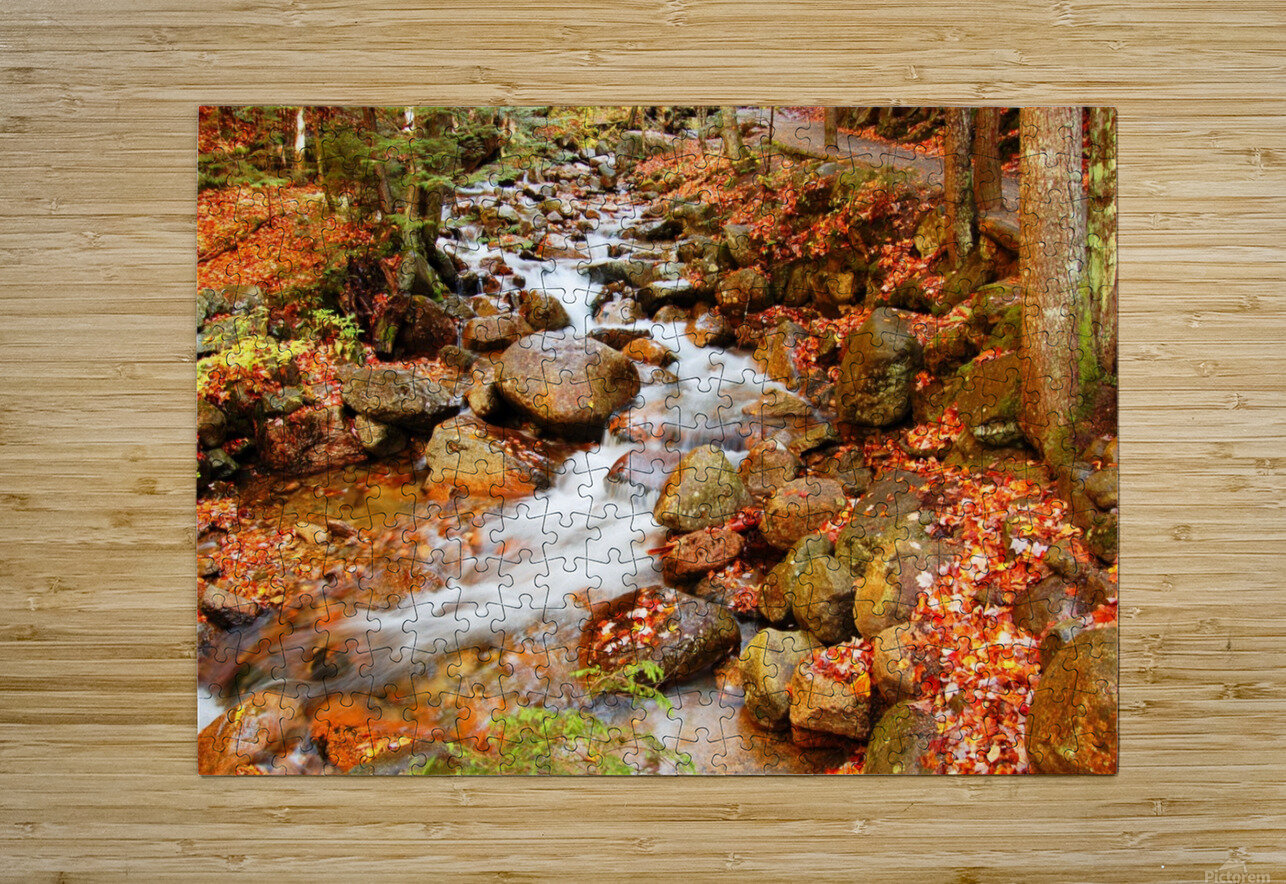 New England autumn stream  HD Metal print with Floating Frame on Back