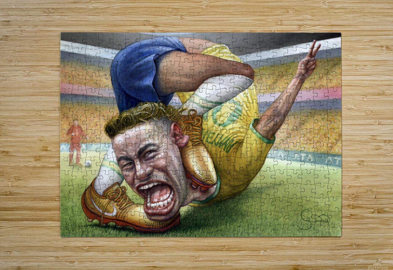 Neymar by Krzysztof Grzondziel  HD Metal print with Floating Frame on Back