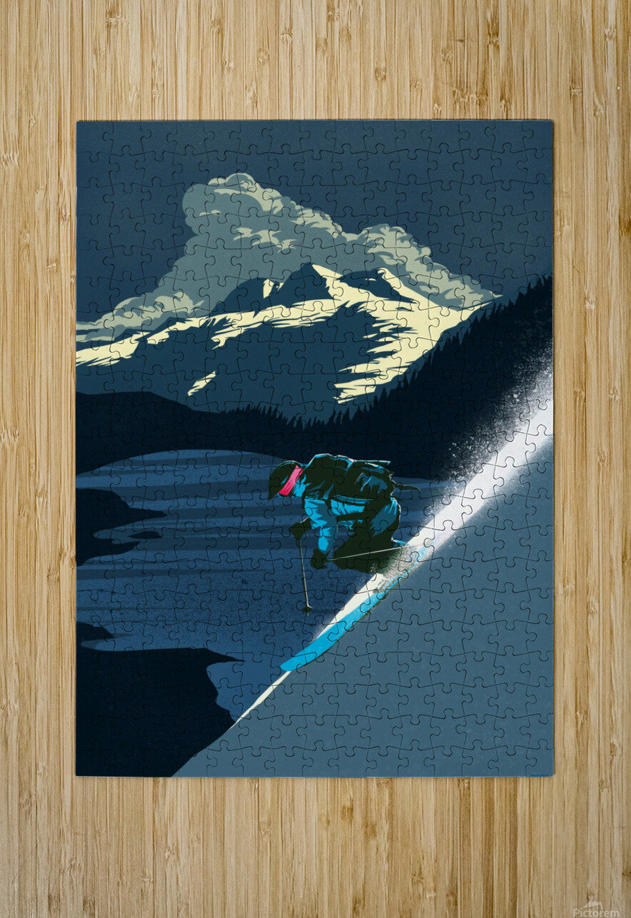 Retro Ski Poster  HD Metal print with Floating Frame on Back