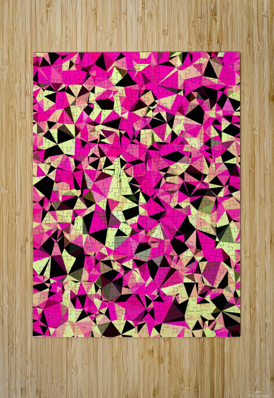 geometric triangle pattern abstract in pink and black  HD Metal print with Floating Frame on Back