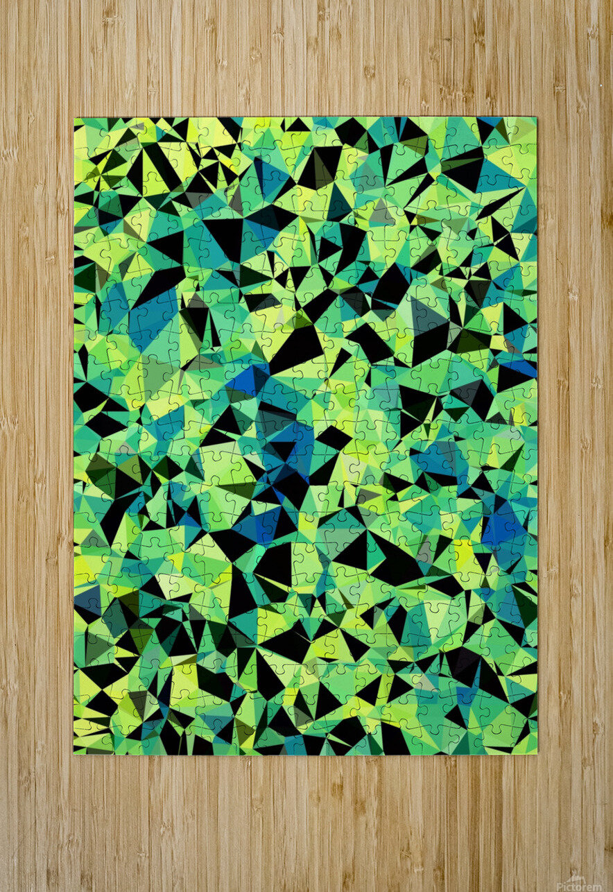 geometric triangle pattern abstract in green blue black  HD Metal print with Floating Frame on Back