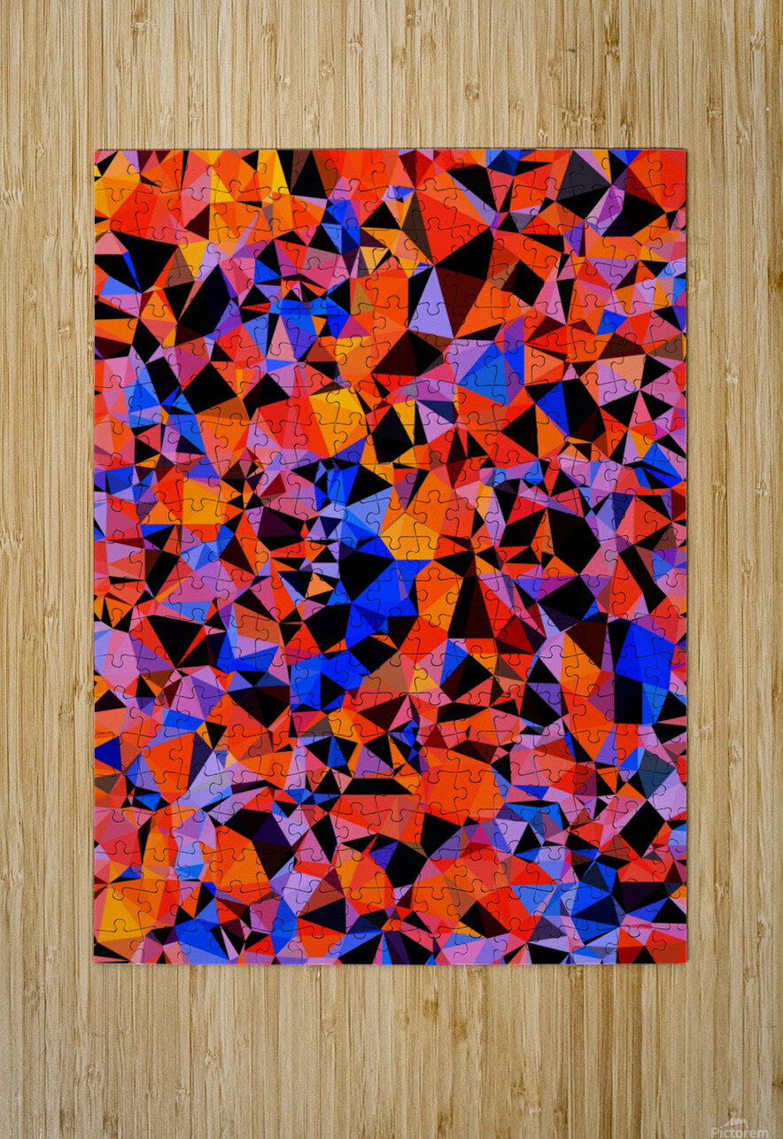 geometric triangle pattern abstract in blue orange red  HD Metal print with Floating Frame on Back