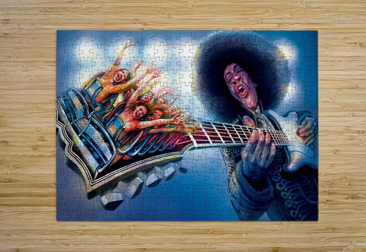 Jimi Hendrix by Krzysztof Grzondziel  HD Metal print with Floating Frame on Back