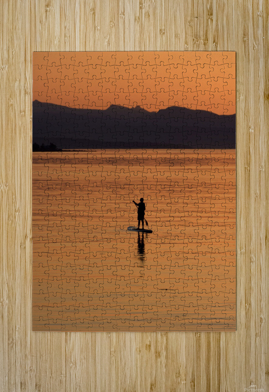 The paddleboarder  HD Metal print with Floating Frame on Back