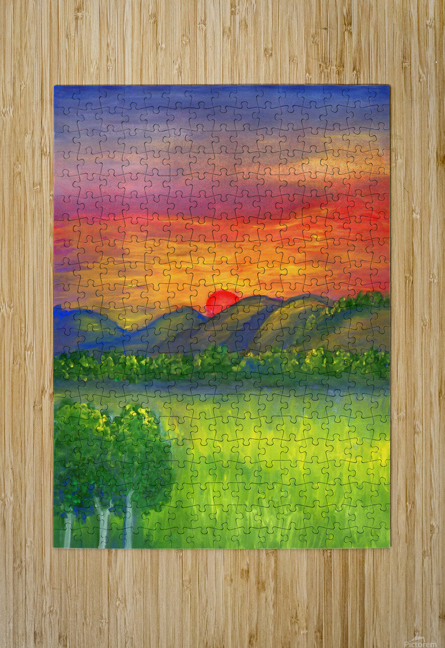 Mystical red sunset  HD Metal print with Floating Frame on Back