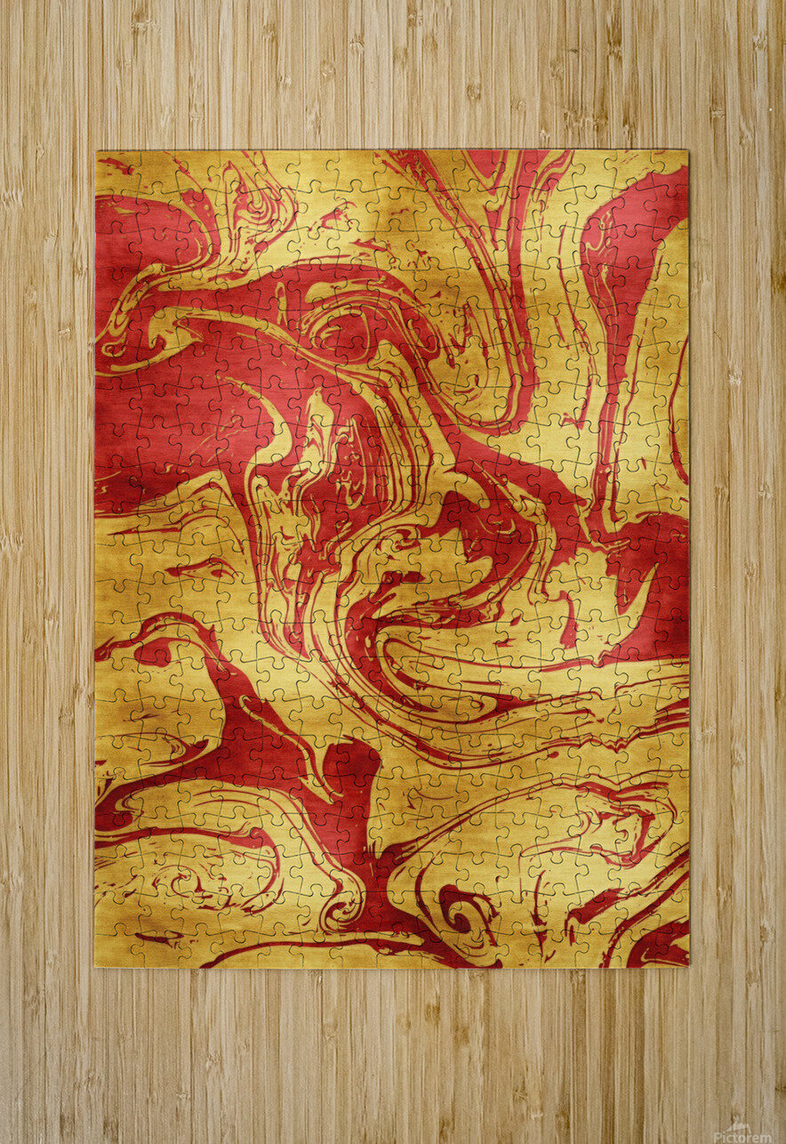 Red Dragon Marble  HD Metal print with Floating Frame on Back