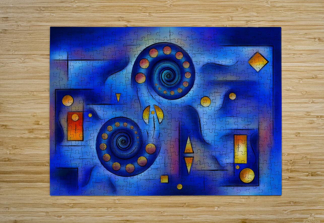 Grefenorium - blue spiral world  HD Metal print with Floating Frame on Back