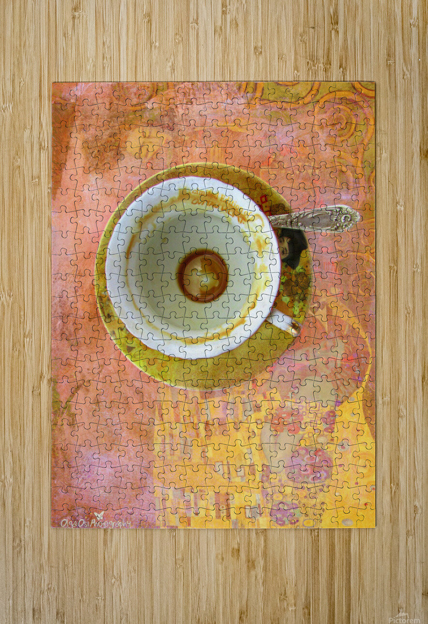 Coffee with Klimt  HD Metal print with Floating Frame on Back