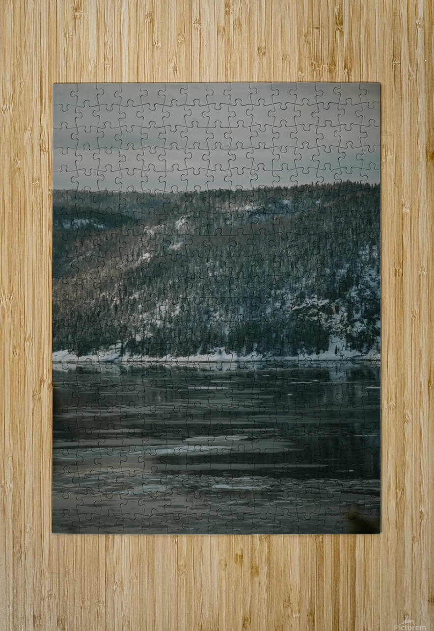 Le fjord du Saguenay en hiver  Impression métal HD avec cadre flottant sur le dos