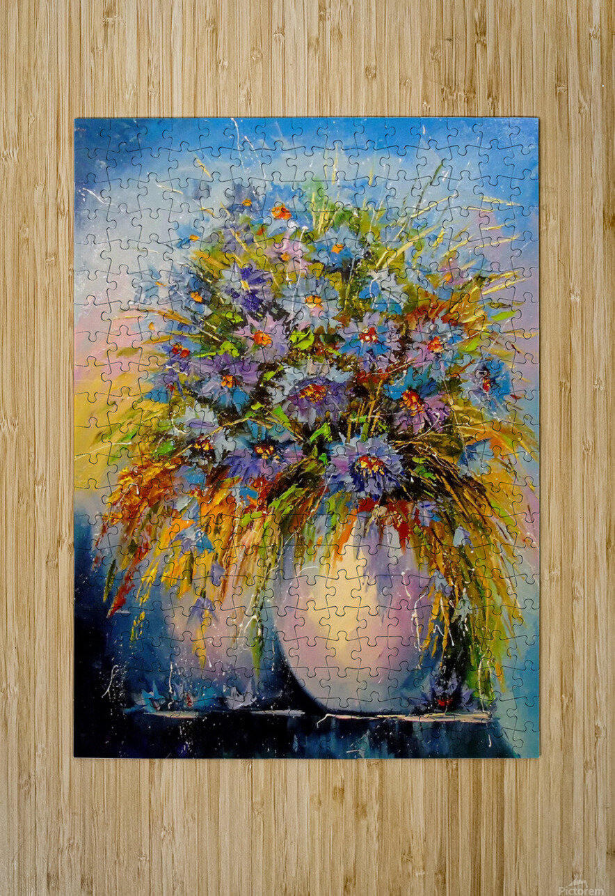 A bouquet of blue flowers  HD Metal print with Floating Frame on Back