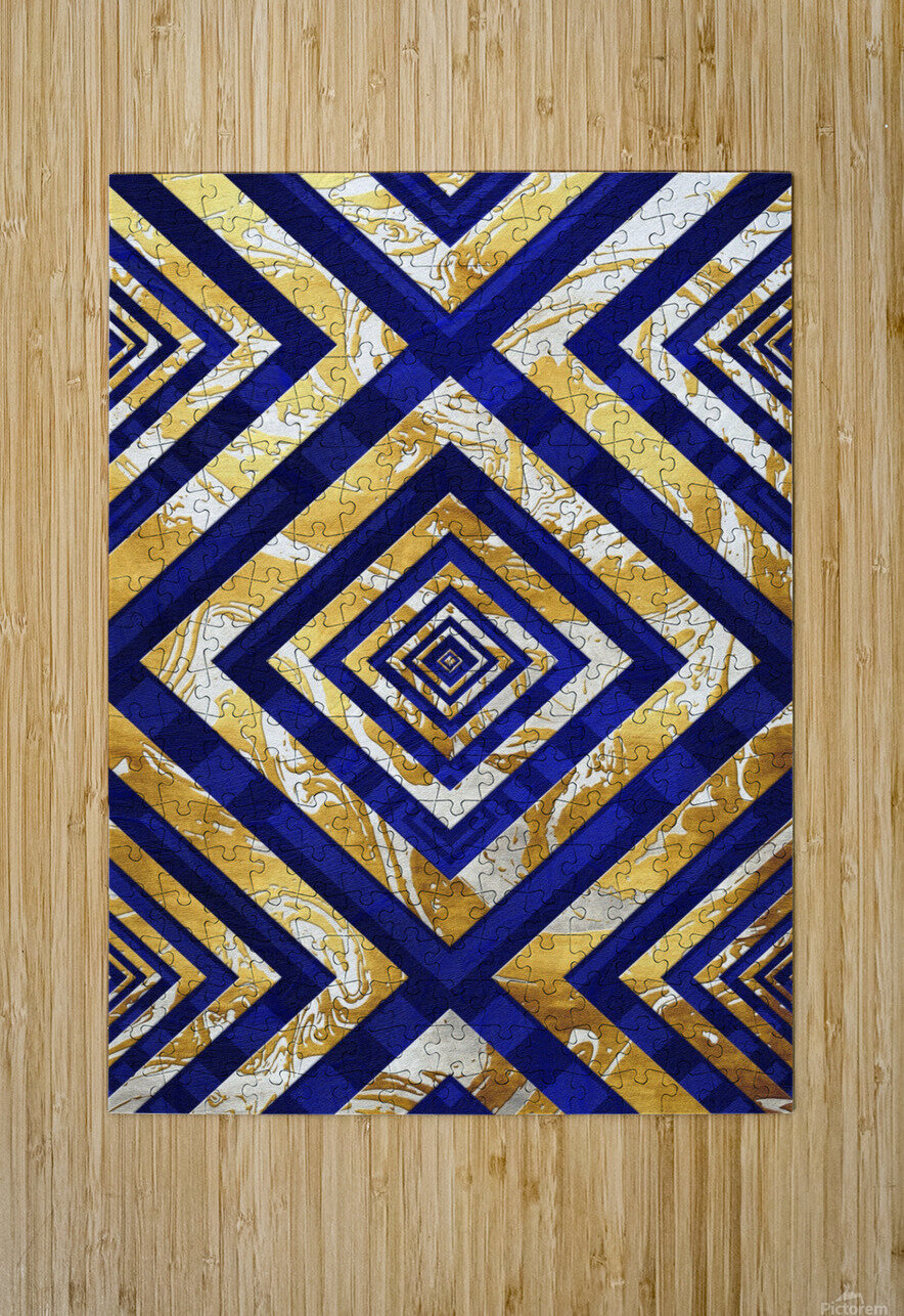 Geometric Gold Dark Blue Marble  HD Metal print with Floating Frame on Back