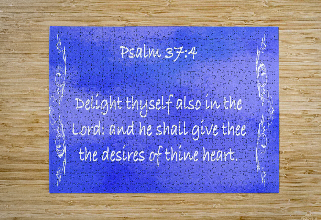 Psalm 37 4 4BL  HD Metal print with Floating Frame on Back