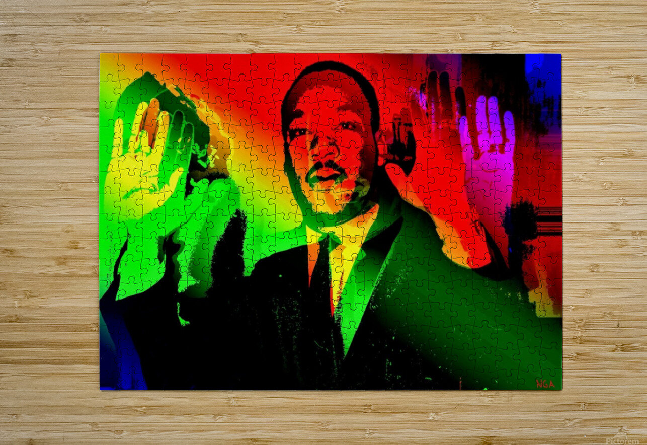 Martin Luther King - Dont Shoot - by Neil Gairn Adams  HD Metal print with Floating Frame on Back