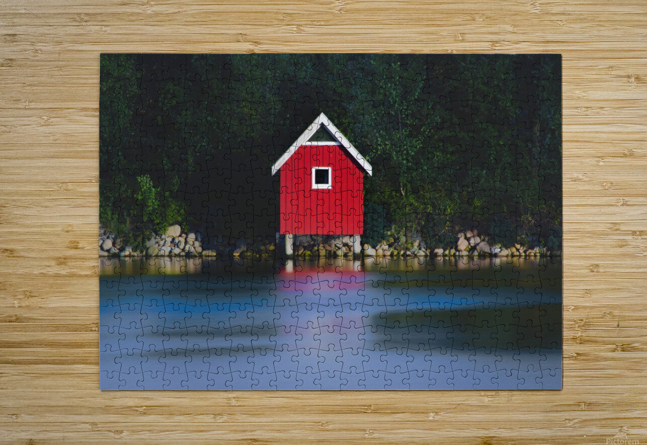 The red house  HD Metal print with Floating Frame on Back