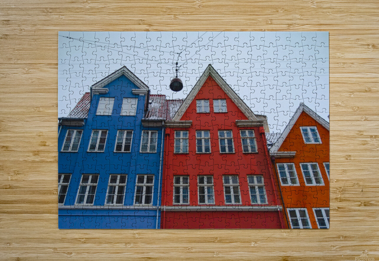 The red and blue house in Copenhagen  HD Metal print with Floating Frame on Back