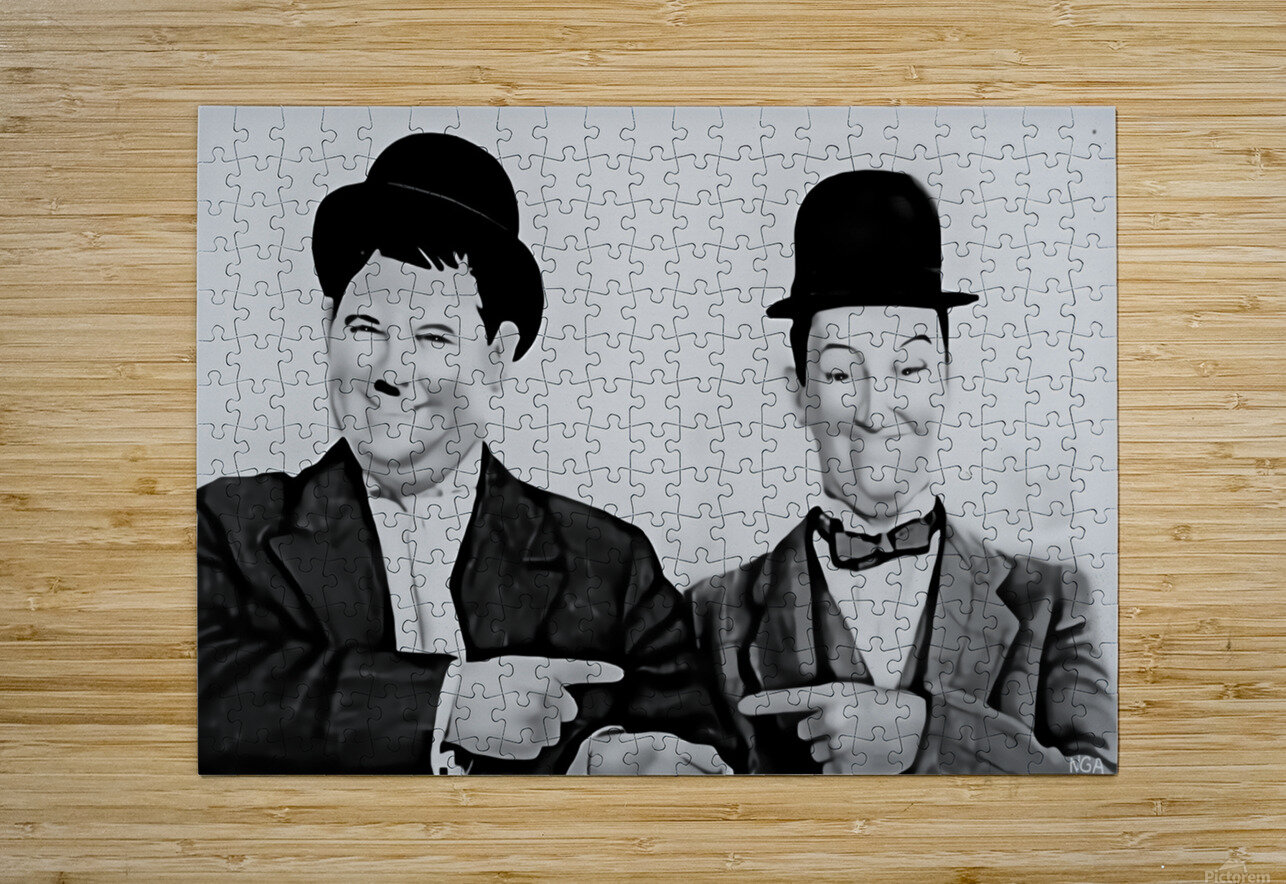 Laurel and Hardy -  by Neil Gairn Adams   HD Metal print with Floating Frame on Back
