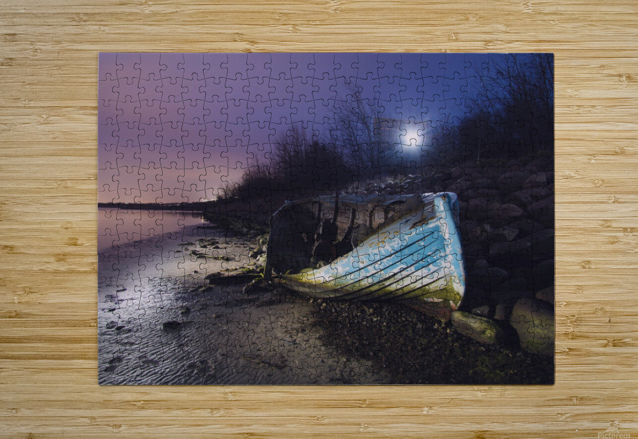 Old boat on Copenhagen shore at night   HD Metal print with Floating Frame on Back