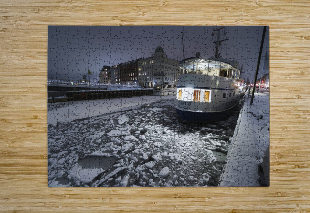 Frozen Nyhavn canal in winter  HD Metal print with Floating Frame on Back