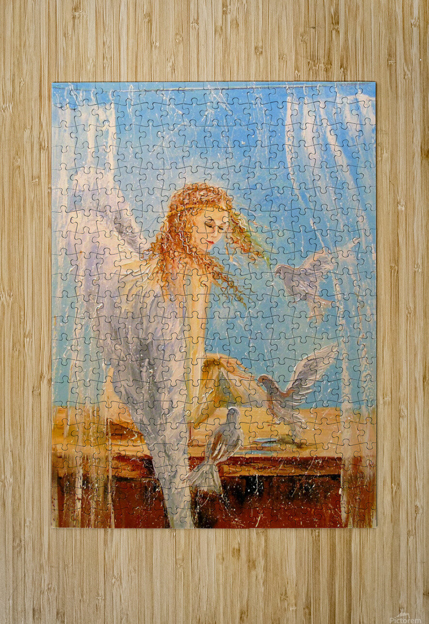 Angel on the window  HD Metal print with Floating Frame on Back