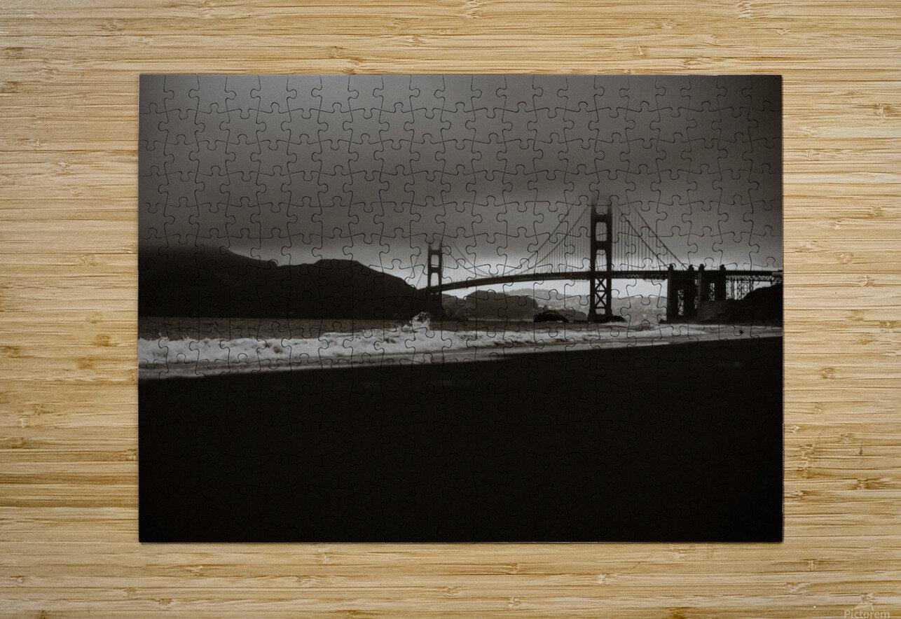 B&W Golden Gate  Impression métal HD avec cadre flottant sur le dos