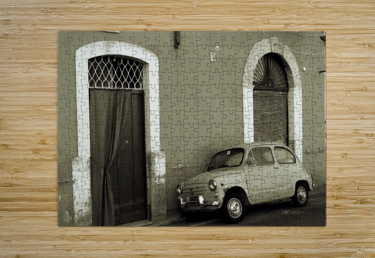 Vintage Car in Black and White  HD Metal print with Floating Frame on Back