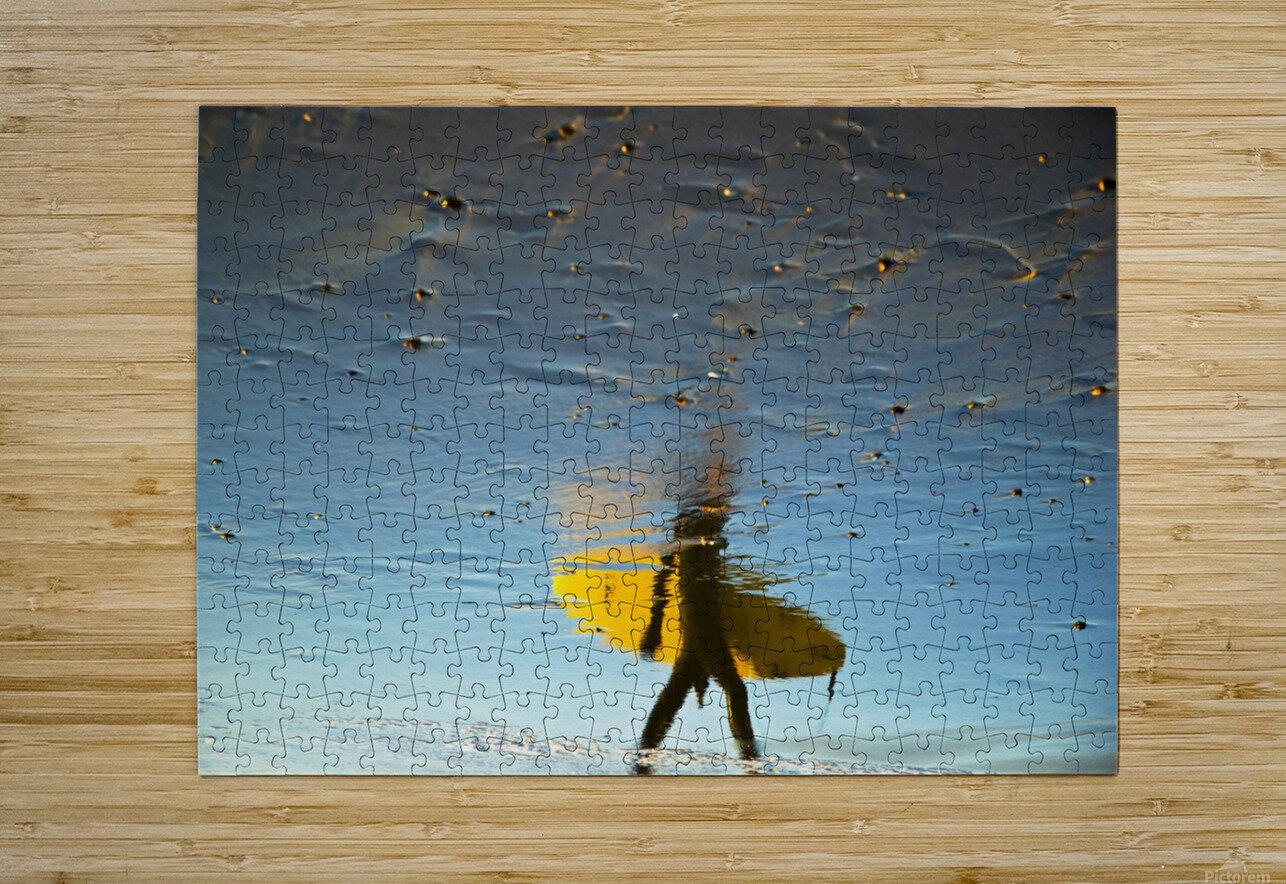 YELLOW SURFER  HD Metal print with Floating Frame on Back