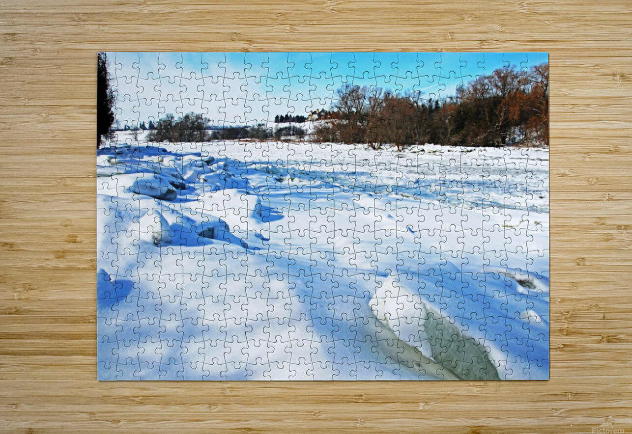 Frazil Ice On The Grand River West Montrose  HD Metal print with Floating Frame on Back